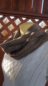Black and brown bamboo handwoven scarf made in Bend Oregon wrapped around the neck and paired with an white sweater