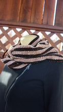 Load image into Gallery viewer, Black and copper stripes handwoven scarf made in Bend Oregon wrapped around and paired with a black sweater