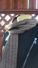 Load image into Gallery viewer, Black and brown bamboo handwoven scarf made in Bend Oregon wrapped around the neck and paired with an black sweater