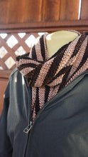 Load image into Gallery viewer, Black and copper stripes handwoven scarf made in Bend Oregon wrapped around and paired with a olive green sweater