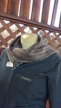 Load image into Gallery viewer, Black and brown bamboo handwoven scarf made in Bend Oregon wrapped around the neck and paired with an olive drab green