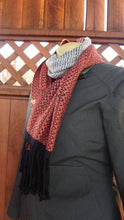 Load image into Gallery viewer, Coral, White and Black Bamboo Scarf