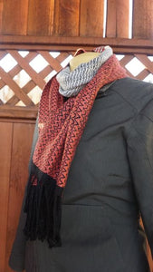 Coral, White and Black Bamboo Scarf