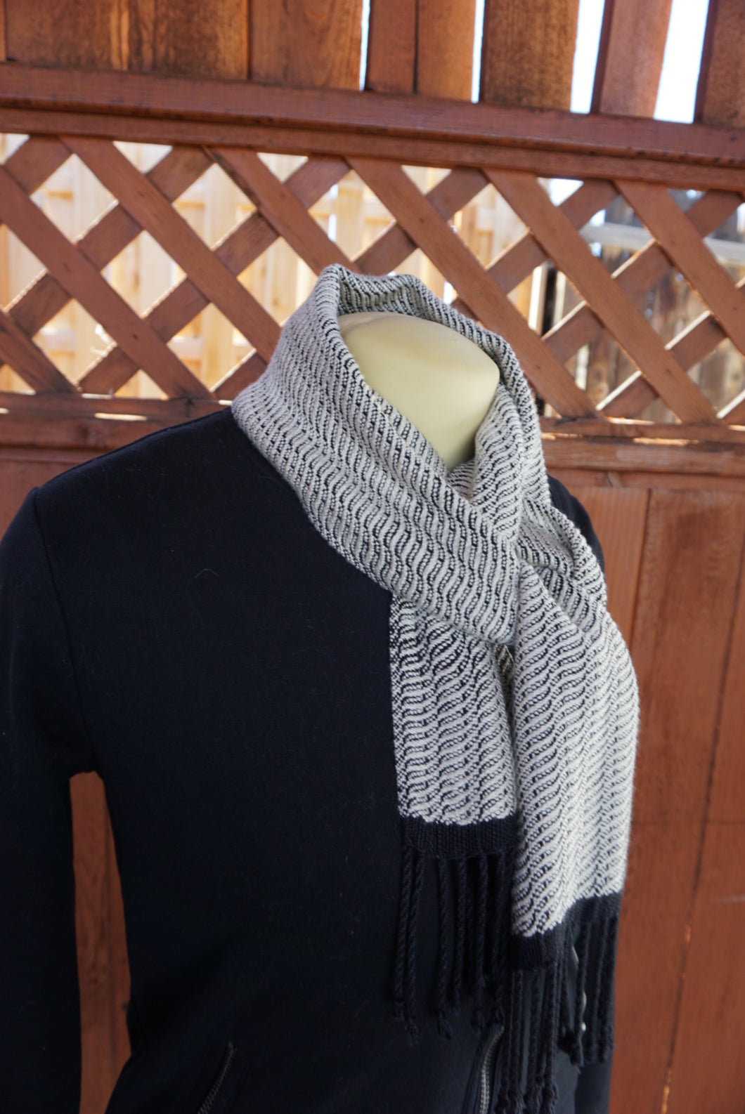 Black and White Bamboo Scarf