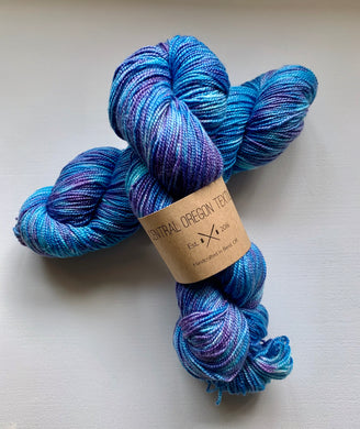 80% SW Wool 20% Silk - 2 Ply Yarn - Teal Blue and Purple