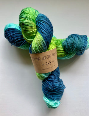 100g Superwash Merino Wool - 3 Ply Yarn - Green and Blue