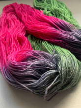 Load image into Gallery viewer, fushia green and grey handdyed yarn