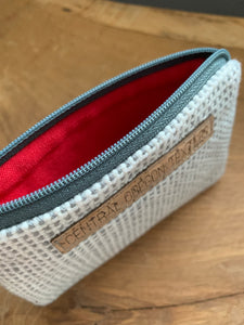 Coin Bag - white, grey and red