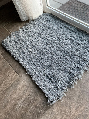 Wool and Cotton Handwoven Rug - Solid Grey