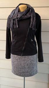 Scarf - Grey and Black with Fringe Ends