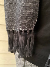 Load image into Gallery viewer, Scarf - Grey and Black with Fringe Ends
