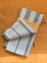 Load image into Gallery viewer, handwoven grey, blue and white cotton striped kitchen towel