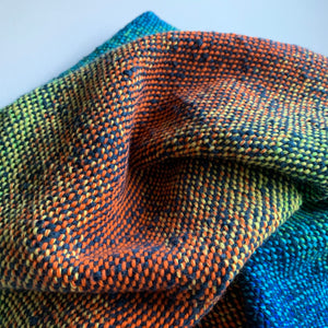 Handwoven Towel - Rainbow and Navy