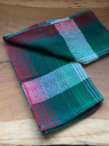 Handwoven Towel - Christmas Green and White Stripe