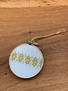 Yellow and white hand woven bamboo Christmas ornament