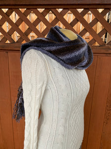 Grey and brown bamboo and synthetic handwoven scarf made in Bend Oregon wrapped around the neck and paired with an white sweater