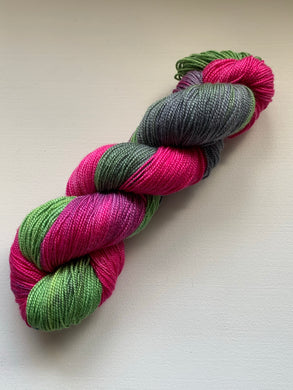 fushia green and grey handdyed yarn