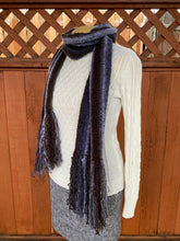 Load image into Gallery viewer, Grey and brown bamboo and synthetic handwoven scarf made in Bend Oregon wrapped around the neck and paired with an white sweater