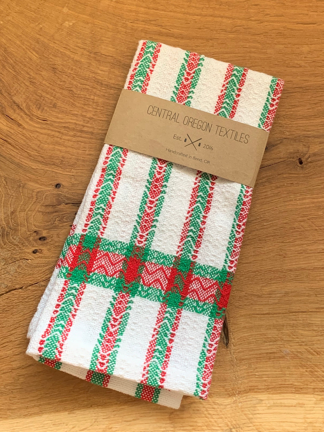 handwoven red, green and white cotton kitchen towel