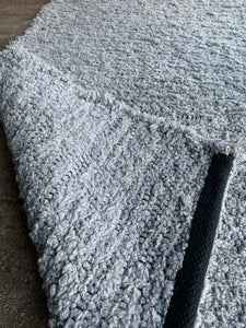 Wool and Cotton Handwoven Rug - Solid Grey Large