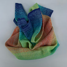 Load image into Gallery viewer, Handwoven Towel - Rainbow and Light Blue