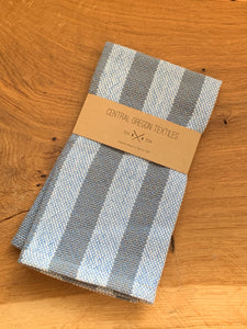 handwoven grey, blue and white cotton striped kitchen towel