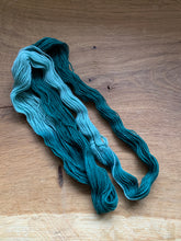 Load image into Gallery viewer, Light and dark forest green hand dyed yarn
