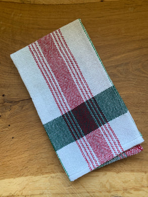 Handwoven Towel - Christmas White with Green Stripe