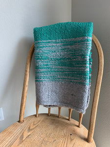 "Mint Green and Grey Lap Blanket 37""x37"""