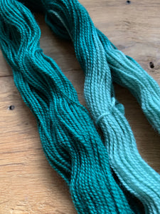 Light and dark forest green hand dyed yarn