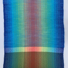 Load image into Gallery viewer, Handwoven Towel - Rainbow and Blue, White and Grey