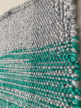 "Load image into Gallery viewer, Mint Green and Grey Lap Blanket 37""x37"""
