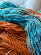 Load image into Gallery viewer, Handdyed copper and teal wool chained yarn 100 grams