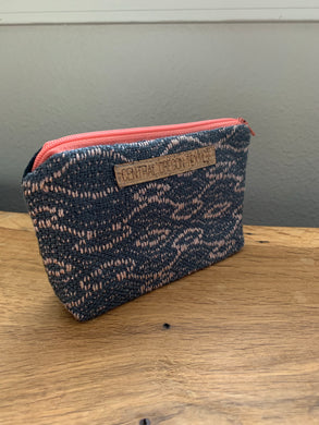 Gusseted Cosmetic Bag - Small - Rose and Grey