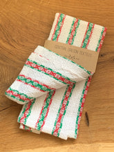 Load image into Gallery viewer, handwoven red, green and white cotton striped kitchen towel