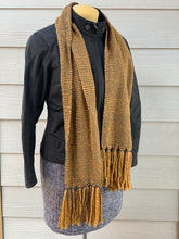 Load image into Gallery viewer, Scarf - Mustard Yellow Wool Blend & Grey Bamboo
