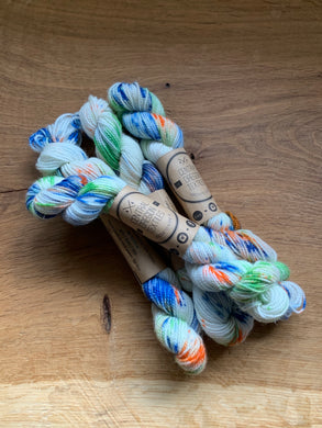 Green, blue, orange hand dyed yarn