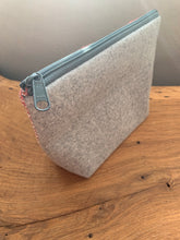 Load image into Gallery viewer, Handwoven cotton and bamboo fabric sewn with wool into a gusseted cosmetic bag. This bag is great for cosmetics and crafts. Includes an internal pocket to keep smaller items organized.