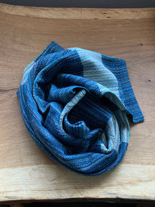 Handwoven Towel - Blue with Grey Stripe