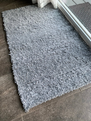 Wool and Cotton Handwoven Rug - Solid Grey Medium