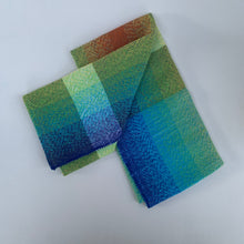 Load image into Gallery viewer, Handwoven Towel - Rainbow, Teal, Grey and White Stripes