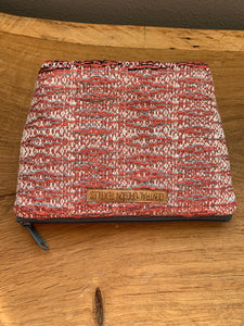 Gusseted Cosmetic Bag - Large - Coral and Grey Bamboo