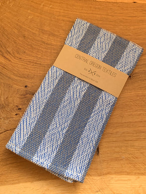 handwoven grey, blue and white cotton kitchen towel