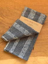 Load image into Gallery viewer, handwoven grey, navy blue and white cotton striped kitchen towel