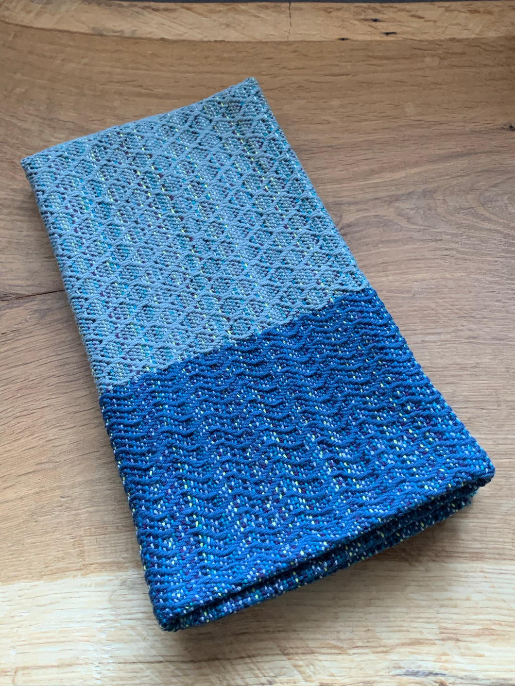 Handwoven Towel - Blue and Grey Diamonds