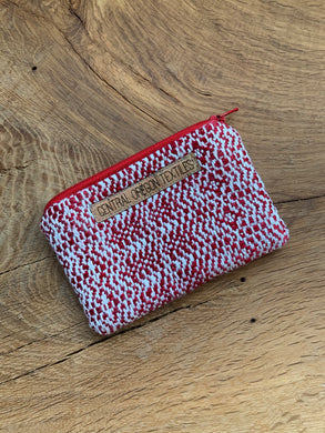 Red wool and white bamboo handwoven fabric sewn with red wool into a small pouch that can be used for coins, credit cards and other smaller items