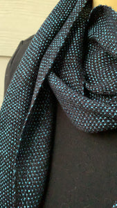 Scarf - Blue and Black with Fringe Ends