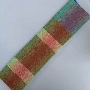 Handwoven Towel - Rainbow, Teal, Grey and White Stripes