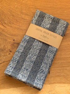 handwoven grey, navy blue and white cotton striped kitchen towel
