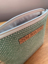 Load image into Gallery viewer, Gusseted Cosmetic Bag - Medium - Green and Beige